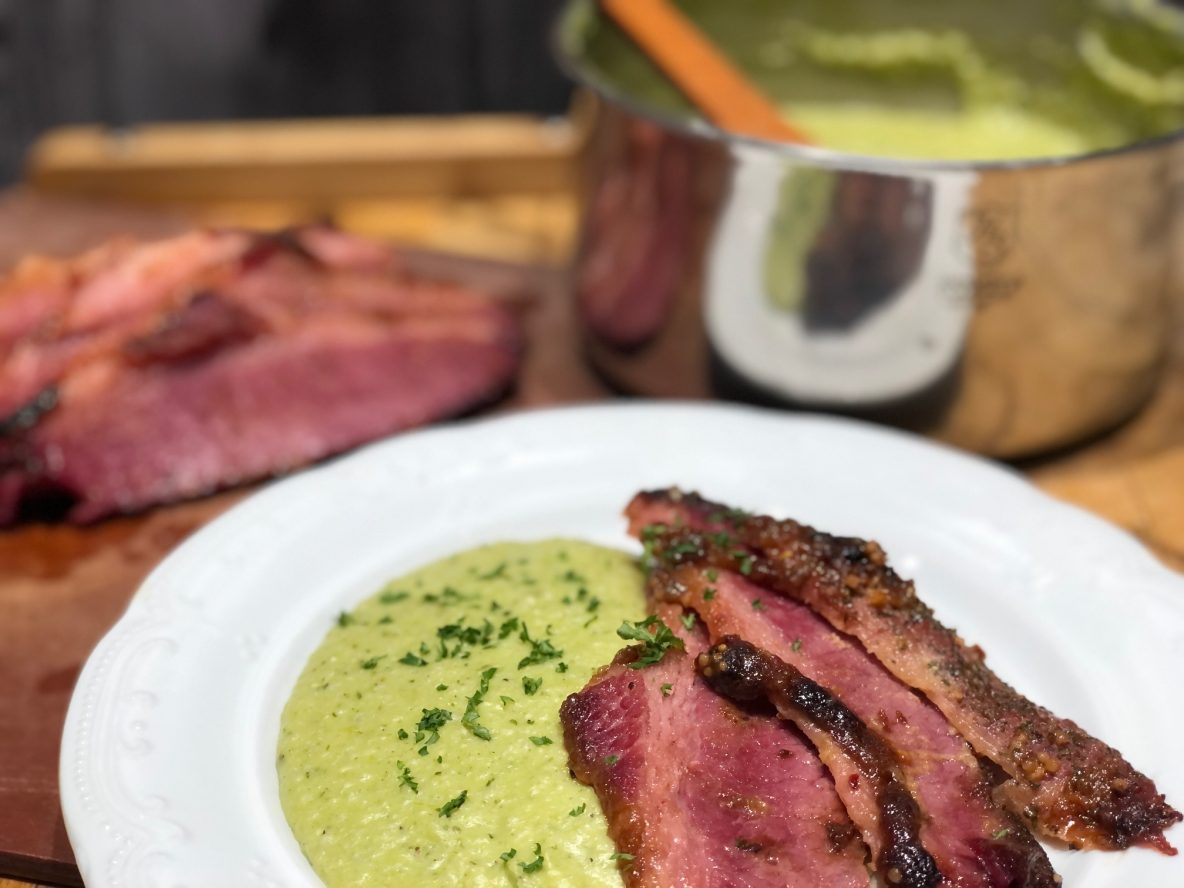 Corned Beef and Green Grits on a plate