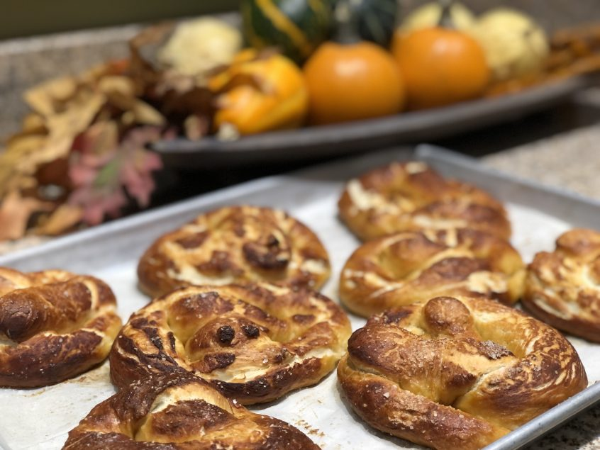 Picture of German Soft Pretzels on baking sheet.